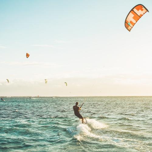 Kitesurfing with friends in Lanzarote